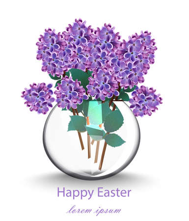 Lilac flowers beautiful bouquet Vector. Spring floral holiday cards