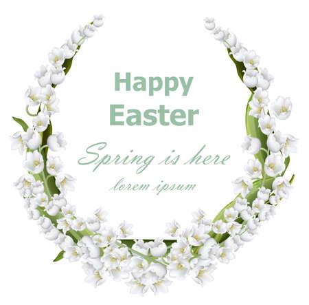 Carte de pâques heureuse avec lys de la couronne floral élément de décoration. illustration de la nature des montagnes Banque d'images - 98207389