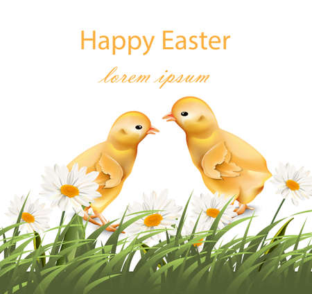Happy Easter card design vector illustration with chicks Illustration