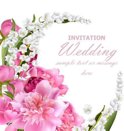 Peony flowers and lily of the valley bouquet. Wedding invitation or birthday template. Holiday background. Vector realistic illustrations