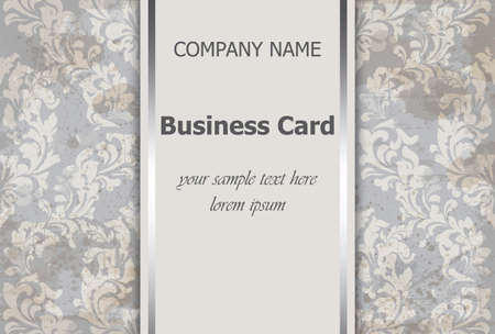Business card with luxury ornament Vector. Baroque intricate design illustration. Place for texts Vectores
