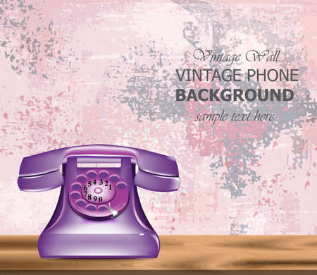 Vintage retro phone Vector realistic. Detailed 3d illustration. Ultra violet color