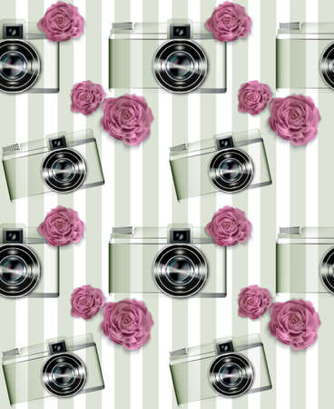 Vintage camera pattern Vector. Abstract background with roses. Detailed 3d illustrations Ilustração