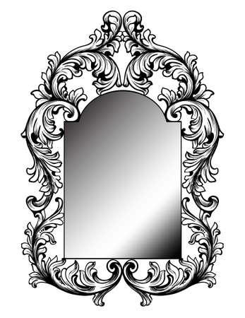 Baroque mirror frame. Vector round decor design elements. Rich encarved ornaments line arts