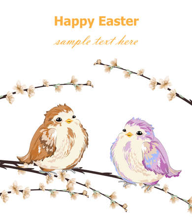 Happy Easter card with Cute Little sparrows pattern Vector.