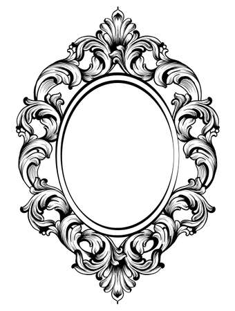 Baroque frame decor. Detailed rich ornament vector illustration graphic line art