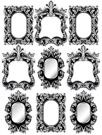 Set of black ornate frames on a white background