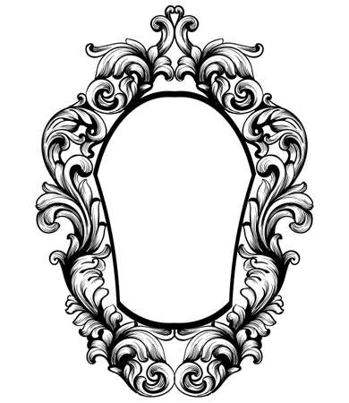 Baroque mirror frame on a white background Banque d'images - 98718356