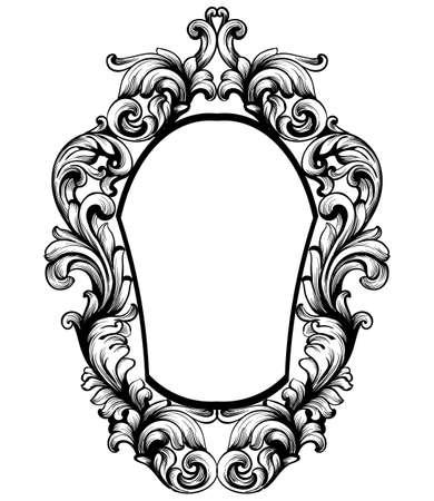 Baroque mirror frame on a white background Illustration
