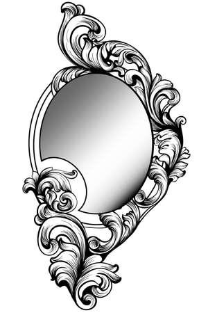 Baroque round mirror frame. Vector Imperial decor design elements. Rich encarved ornaments line arts
