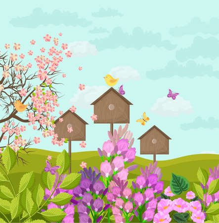 Beautiful spring card with bird houses Vector illustration