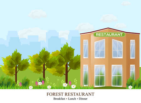 Vector Facade Restaurant architecture. Beautiful building in the forest illustration