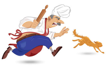 Chief cook chasing a cat Vector. Cartoon character. Outdoors restaurant background