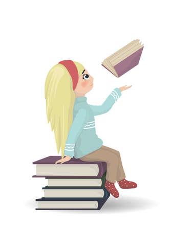 Fille assise sur un tas de livres vector illustration. Connaissances et symboles de lecture.