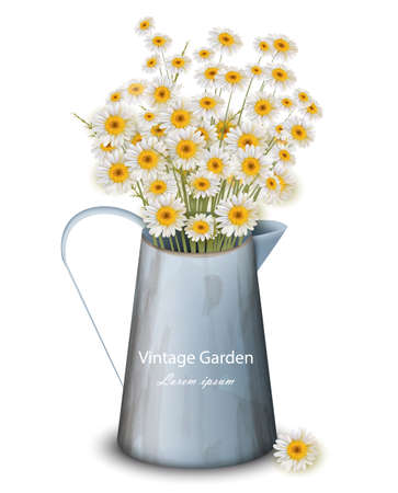 Chamomile flowers in a pot vase Vector. Spring background. Realistic 3d illustrations
