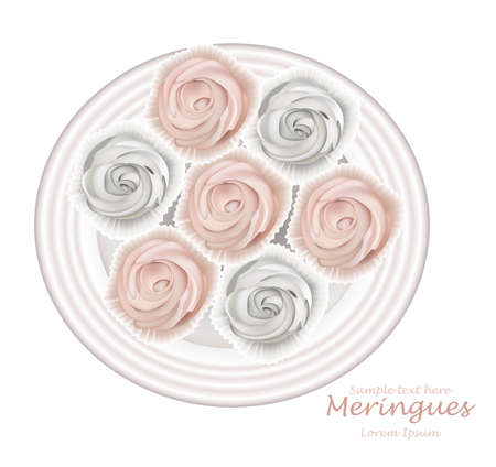 Meringues plate Vector. Sweet dessert Top view detailed illustrations Illustration