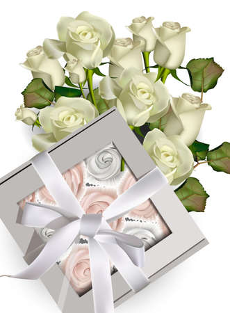 Sweet meringues gift box and white roses bouquet Vector