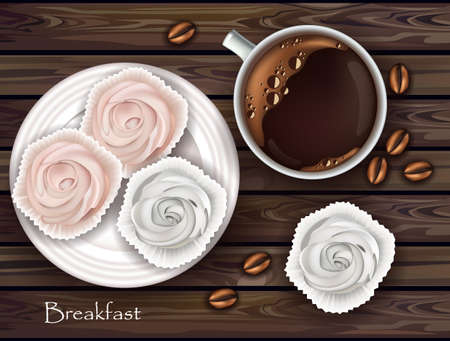 Sweet meringues and coffee Vector. Realistic 3d illustration. Top view