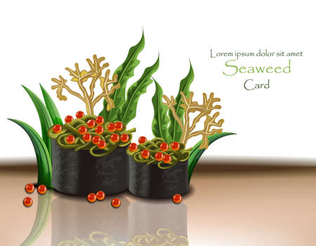 Seaweed and caviar. Vector realistic 3d illustration. Japanese cuisine, sushi nori