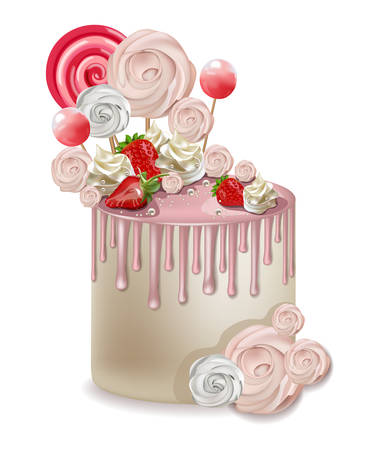 Happy Birthday pink cake Vector realistic. Lollipops and meringues on top. 3d detailed illustrations Illustration