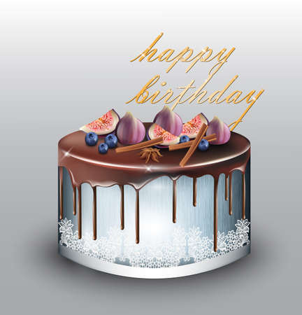 Happy Birthday modern blue cake with fig fruits Vector. Delicious dessert sweet design