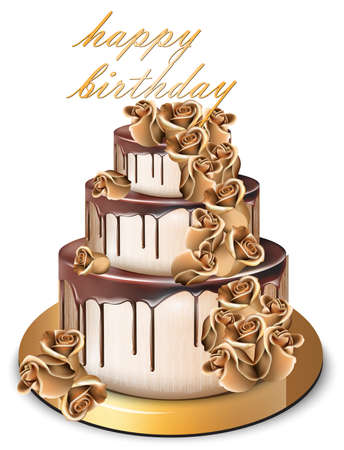 Happy Birthday golden cake Vector. Delicious dessert with gold roses flowers sweet design