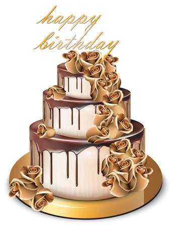 Goldener Kuchen Vektor alles Gute zum Geburtstag. Köstlicher Nachtisch mit süßem Design der Goldrosen-Blumen