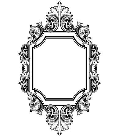 Baroque frame decor Vector. Victorian detailed rich ornament illustration. Royal luxury intricate ornaments. graphic line art style