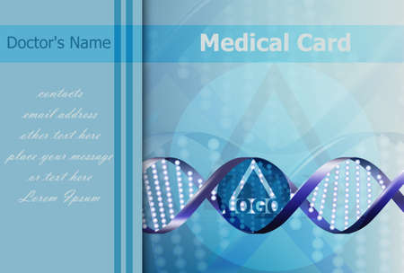 Medical card Vector. DNA abstract formula background. logo design