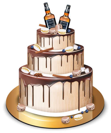 Happy Birthday delicious cake Vector. Whiskey bottles and macaroons decor. Modern sweets design Illustration