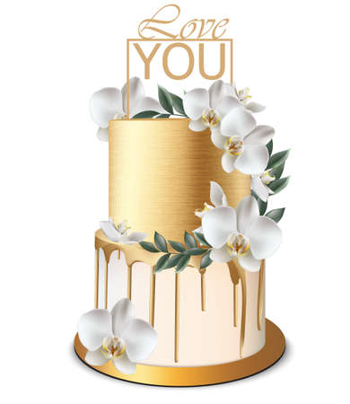 Luxury Gold cake Vector realistic. Birthday, anniversary, wedding delicate royal dessert Illustration