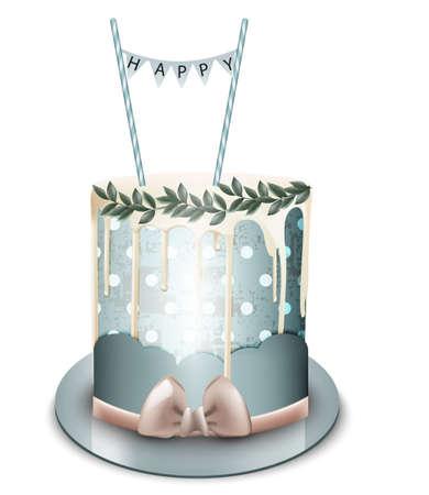 Happy birthday cake Vector realistic. White chocolate frosting. Anniversary, wedding modern dessert