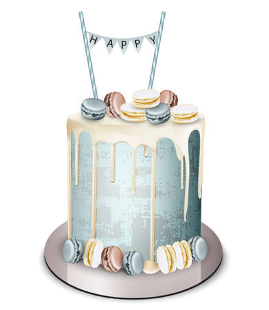 Happy birthday cake Vector realistic. White chocolate frosting and macaroons. Anniversary, wedding, ceremony modern dessert