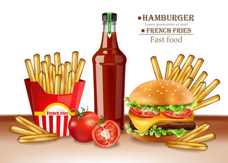 Fast food menu burger and french fries Vector realistic. 3d illustrations Illustration