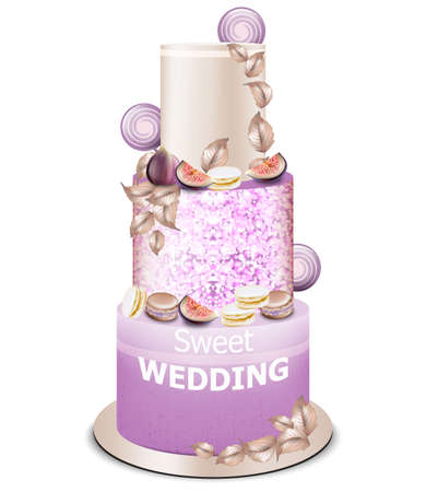 Wedding cake Vector. Delicious dessert with fig fruits. Purple ultra violet color. Trendy modern cake Illustration