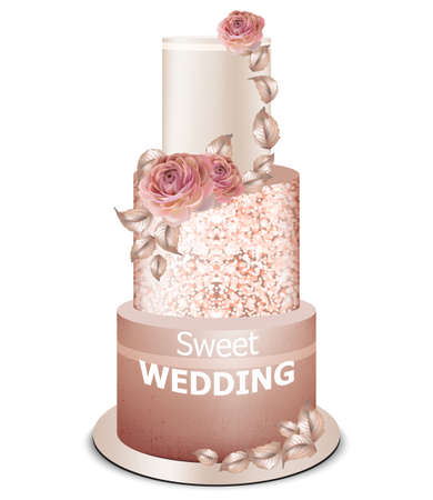 Wedding cake golden decorations and rose flowers Vector. Delicious dessert with fruits sweet design
