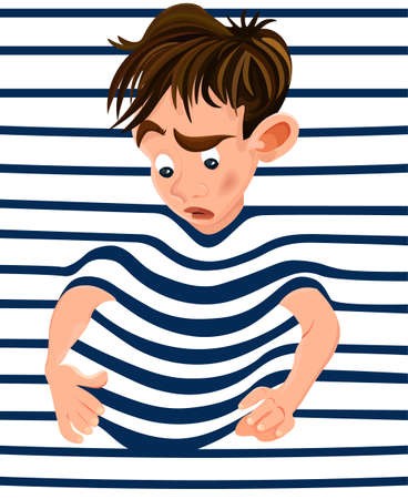Little boy trapped in a striped background. Vector cartoon character funny faces
