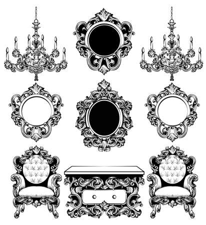 Baroque furniture rich set collection. Intricate carved ornaments. Chandelier, mirror, chair and side table. Line art decor Illustration