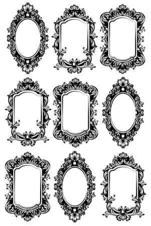 Vintage mirror frames set. Vector collection of round and square vintage frames, design element  イラスト・ベクター素材