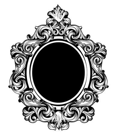Vintage luxury mirror frame Vector. Baroque intricate ornament line arts Çizim
