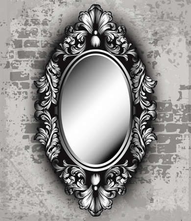 Vintage luxury mirror frame Vector. Baroque intricate ornament line arts Banque d'images - 100642894