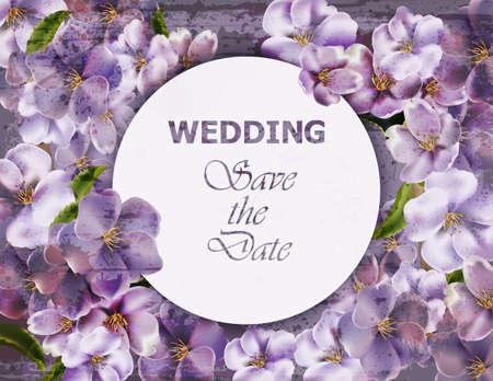 Violet flowers background Vector realistic. Spring floral background 3d illustrations