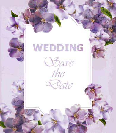 Wedding Invitation purple card Vector. Spring Floral backgrounds. Ultra violet colors Vektorové ilustrace