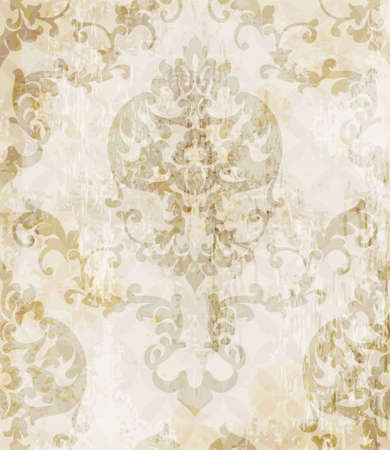 Vintage Baroque pattern background Vector. Ornamented texture luxury designs. Royal textile decor