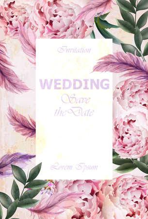 Wedding Invitation peonies bouquet Vector. Vintage floral decor violet colors