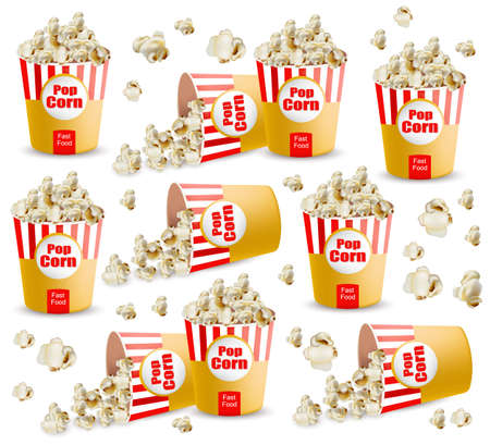Popcorn pattern Vector realistic. 3d detailed illustrations