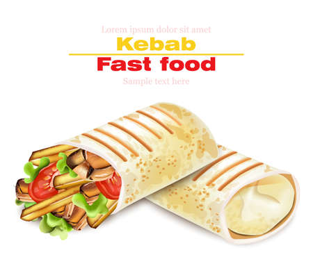 Shawarma Kebab fast food Vector. Detailed illustrations