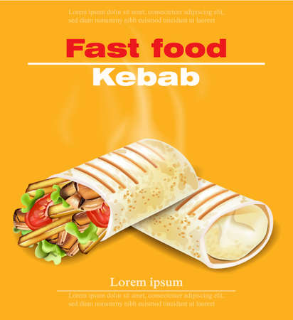 Shoarma Kebab fastfood Vector. Gedetailleerde illustraties
