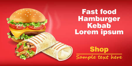 Burger and Shawarma Kebab fast food Vector. Detailed illustrations Illustration