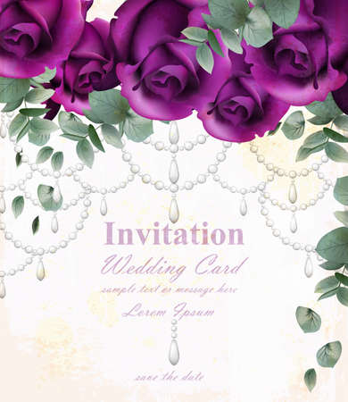 Wedding invitation card with purple violet roses and precious stones Vectores